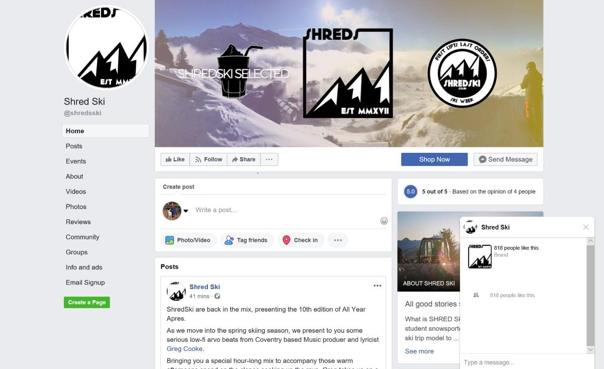 Shred Ski Facebook